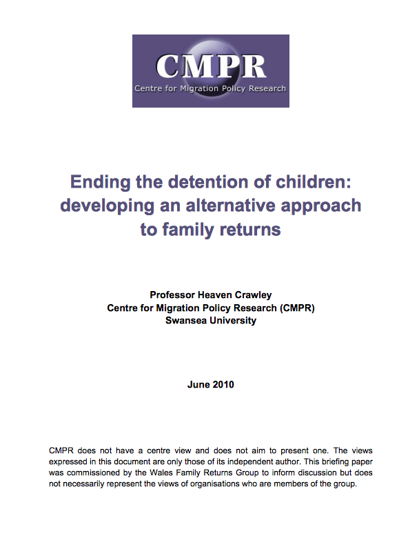 Source:  Ending the Detention of Children: Developing an alternative approach to family returns.